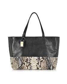 Large Python and Leather Tote