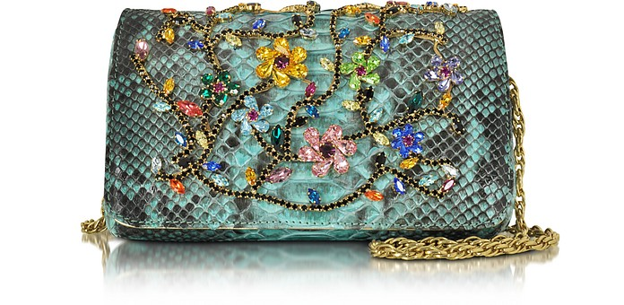 Turquoise Python Mini Crossbody Bag w/Multicolor Crystals - Ghibli