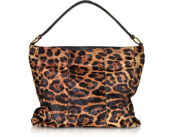 Leopard Printed Haircalf Leather Sholder Bag - Ghibli