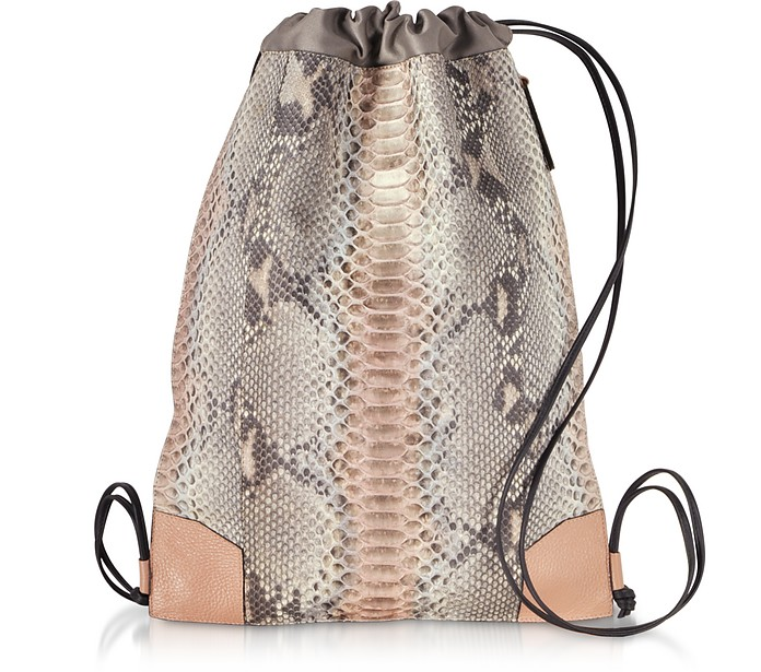 Pearl Gray and Pale Pink Python Leather Backpack - Ghibli