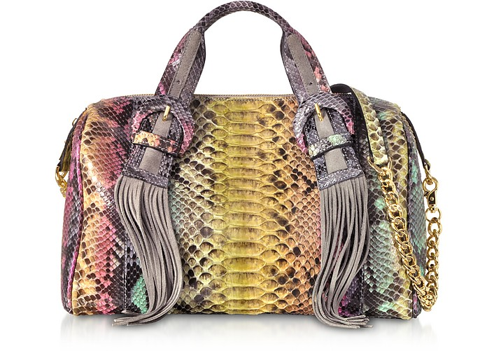 Multicolor Python Leather Shoulder Bag - Ghibli