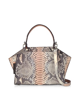 b5bcd76c63a0 Pearl Gray and Pale Pink Python Leather Top Handle Satchel Bag - Ghibli