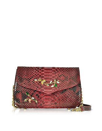 c38bc4a24bb5 Ruby Red Python Leather Medium Shoulder Bag w Crystals - Ghibli