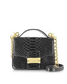 Black Python Leather Shoulder Bag - Ghibli