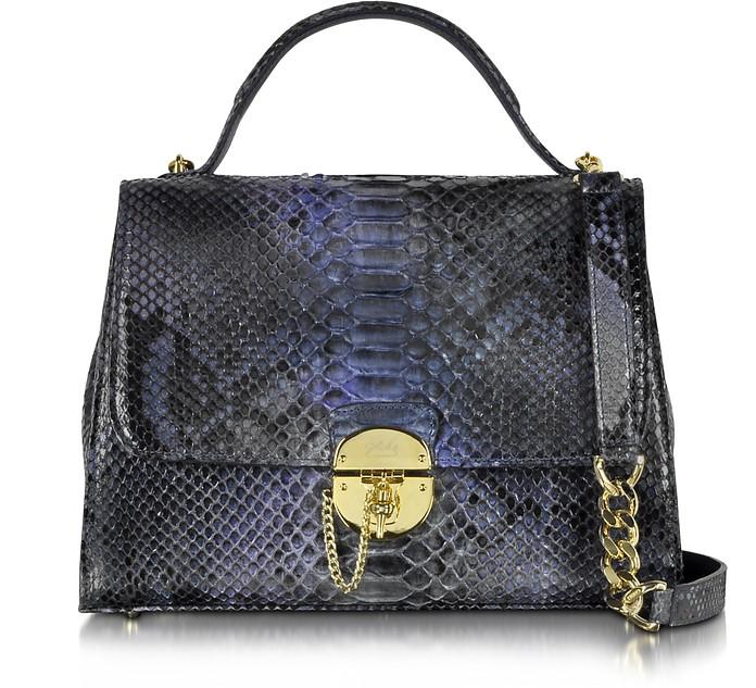 Dark Blue Python Satchel Bag w/Detachable Shoulder Strap - Ghibli