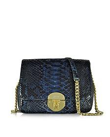 Midnight Blue Phyton Leather Shoulder Bag - Ghibli