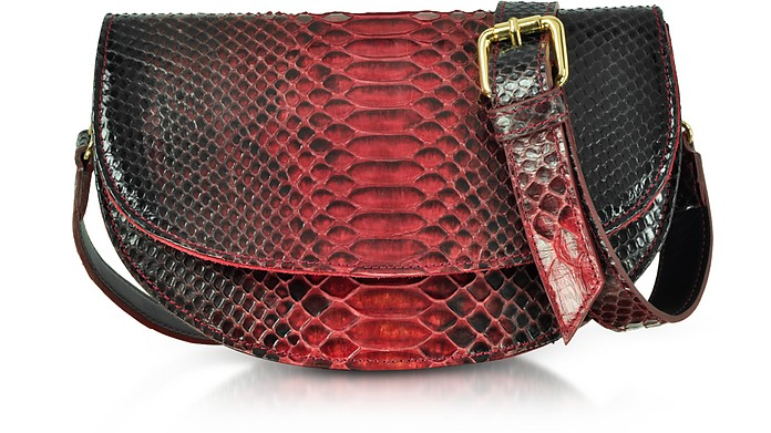 Python Leather Half-Moon Shoulder/Belt Bag - Ghibli