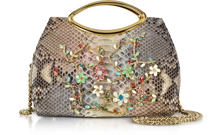 Beige Python Leather Satchel Bag w/Crystals - Ghibli