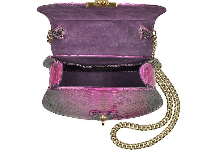 Python Leather Shoulder Bag w/Chain Ghibli Fucsia y8D4F