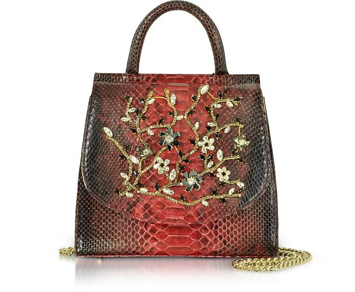 Red Python Leather Satchel Bag w/Crystals - Ghibli