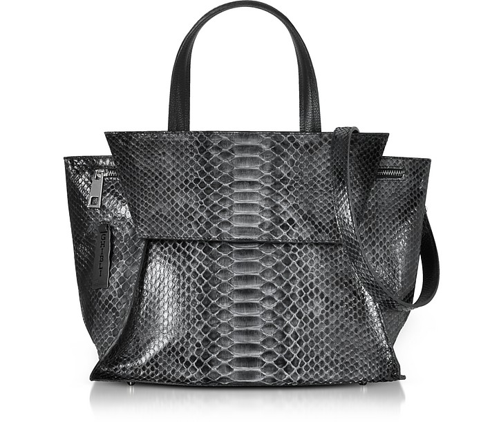 Python Leather Satchel Bag w/Shoulder Strap - Ghibli