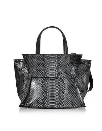 Dark Gray Python Leather Satchel Bag w/Shoulder Strap - Ghibli