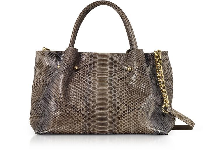 Gray Python Leather Satchel Bag - Ghibli
