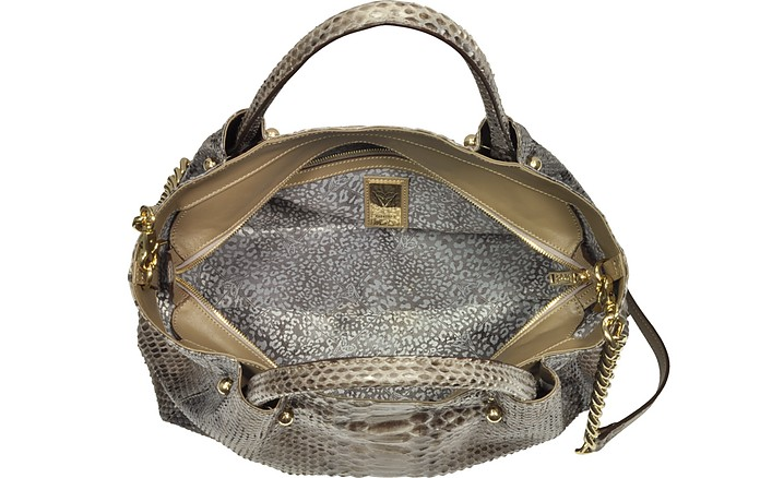 Gray Python Leather Satchel Bag Ghibli P025Z3W3