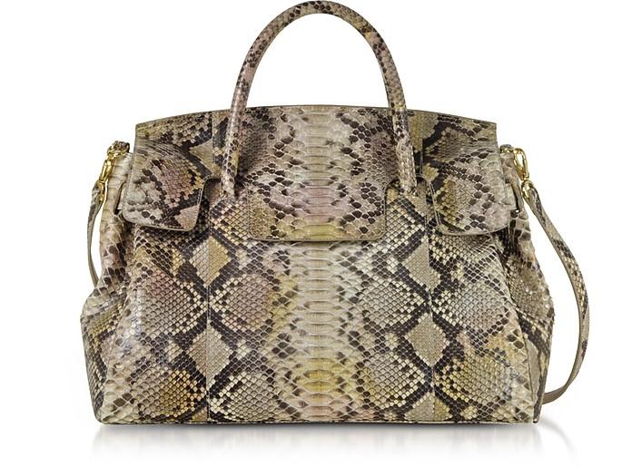 Python Leather Large Satchel Bag - Ghibli
