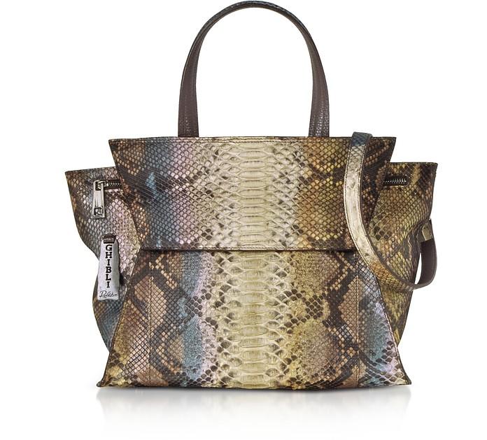 spedizione gratuita dbd1f e05be Shopping Bag in Pitone con Tracolla