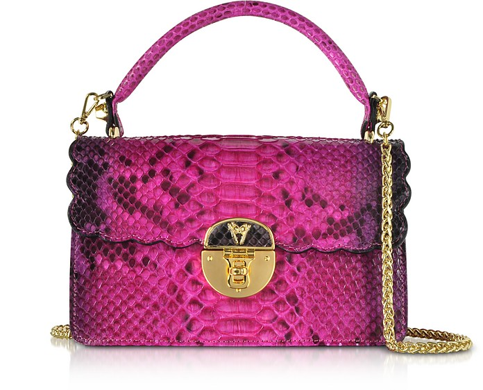Python Leather Top Handle Satchel bag - Ghibli