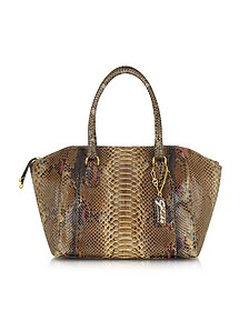 Large Python Leather Zippered Tote