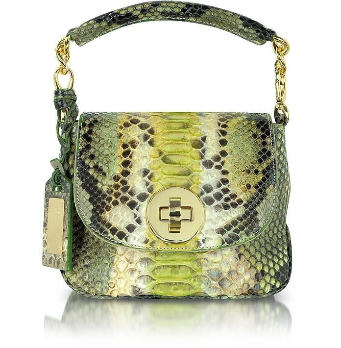 Light Green and Beige Python Leather Shoulder Bag - Ghibli