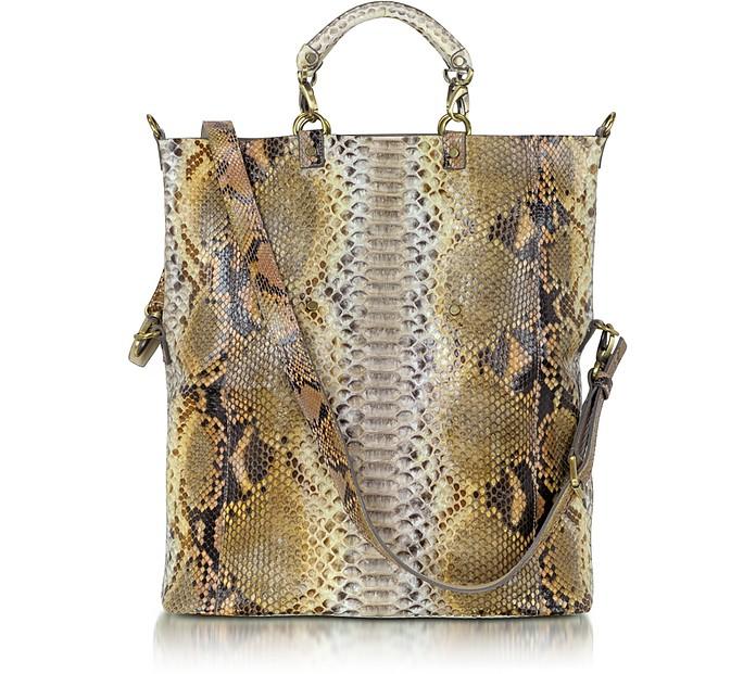 Large Python Leather Tote - Ghibli