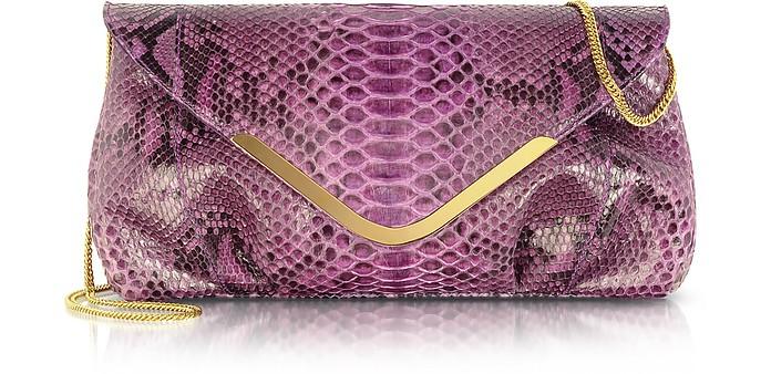 Purple Python Leather Clutch w/Chain Strap - Ghibli