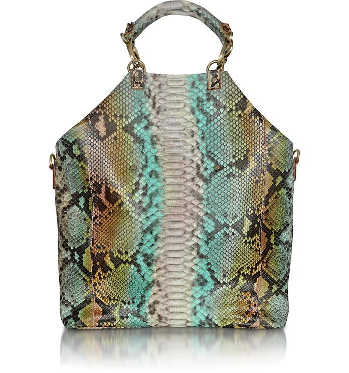 Large Python Leather Tote Bag - Ghibli