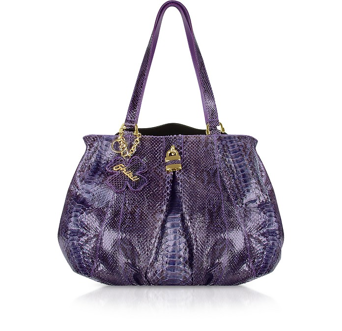 Purple Python Skin Satchel Bag  - Ghibli