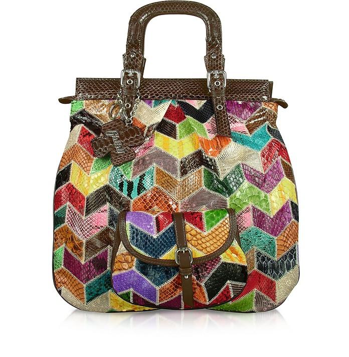 Multicolor Patchwork Python Tote Handbag - Ghibli
