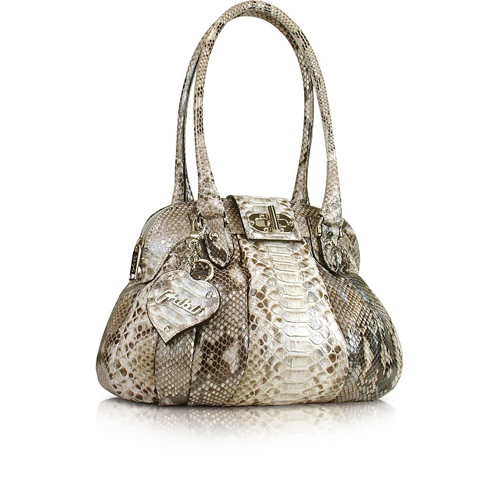 Light Gray Python Shoulder Bag - Ghibli