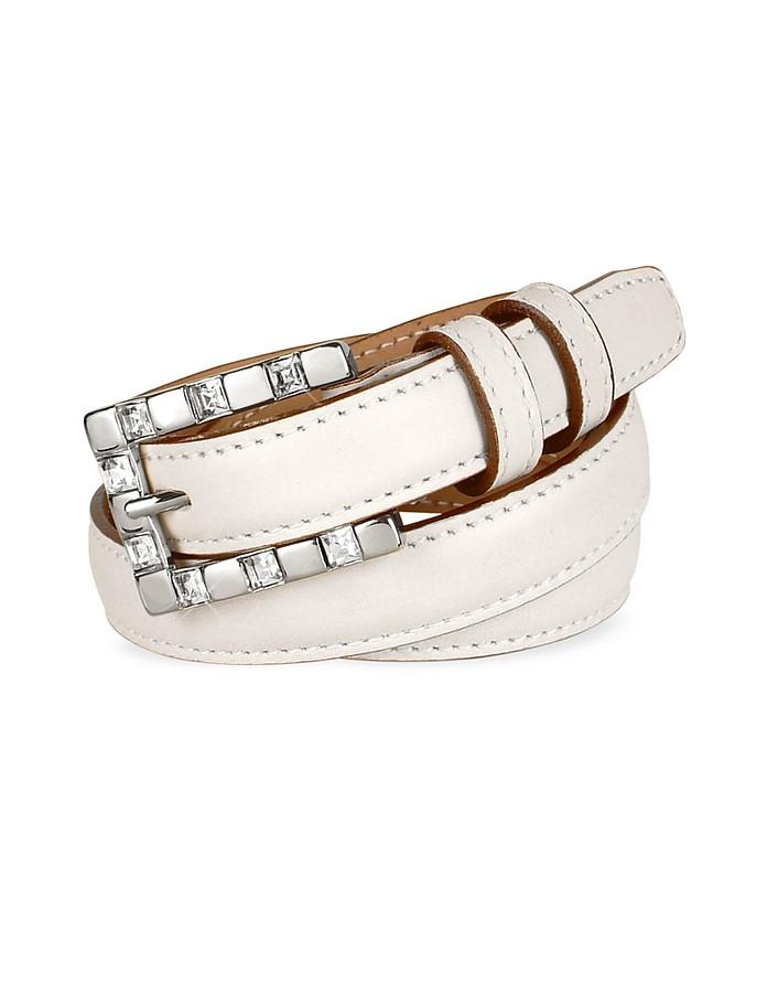 Jeweled Buckle White Calf Leather Skinny Belt - Ghibli