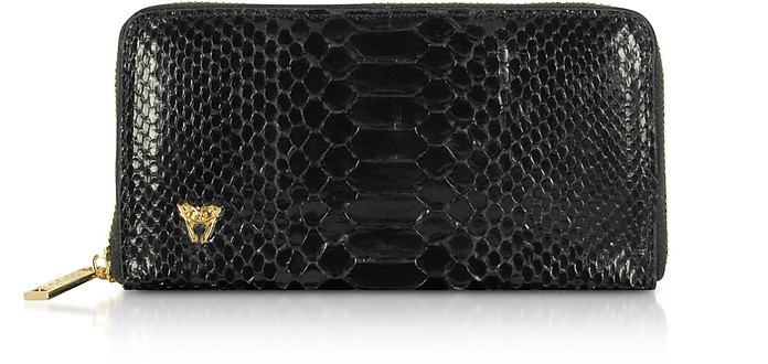 Glossy Black Python Leather Continental Wallet - Ghibli