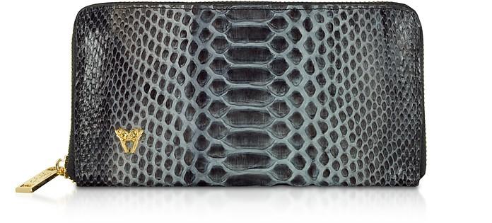 Python Leather Zip Around Continental Wallet - Ghibli