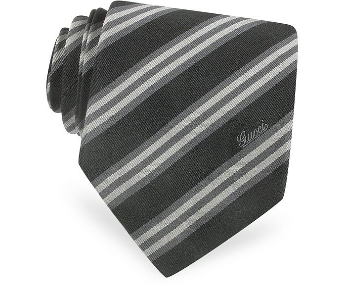 Cravatta in Seta con Righe Diagonali e Signature - Gucci