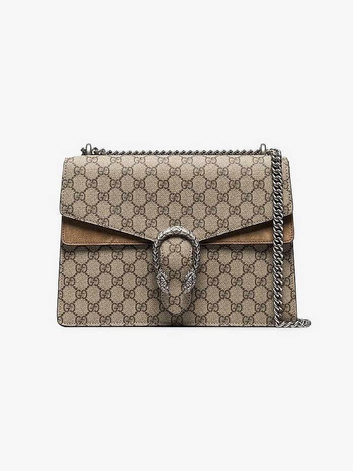 Beige and brown Dionysus GG Supreme shoulder bag - Gucci
