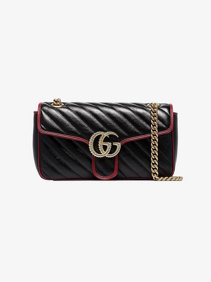 Black GG Marmont leather shoulder bag - Gucci