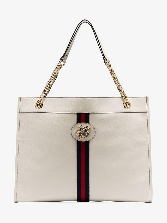 White Rajah tiger embellished leather tote bag - Gucci