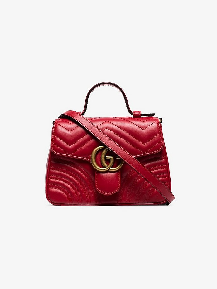 Red GG Marmont mini top handle bag - Gucci