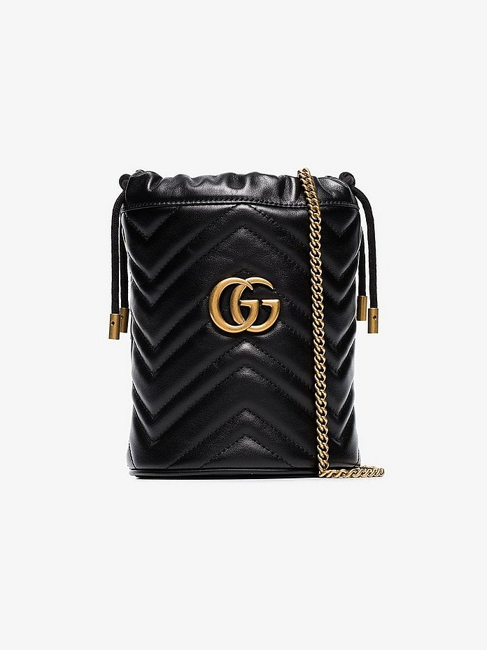 Black marmont mini quilted leather bucket bag - Gucci
