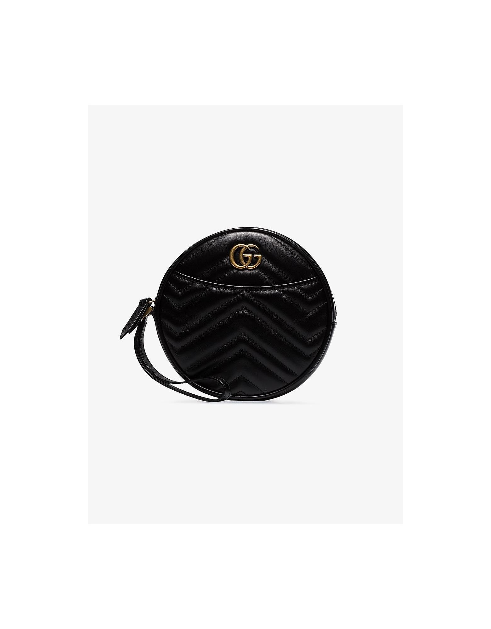 Gucci Clutch BLACK GG MARMONT ROUND LEATHER CLUTCH BAG