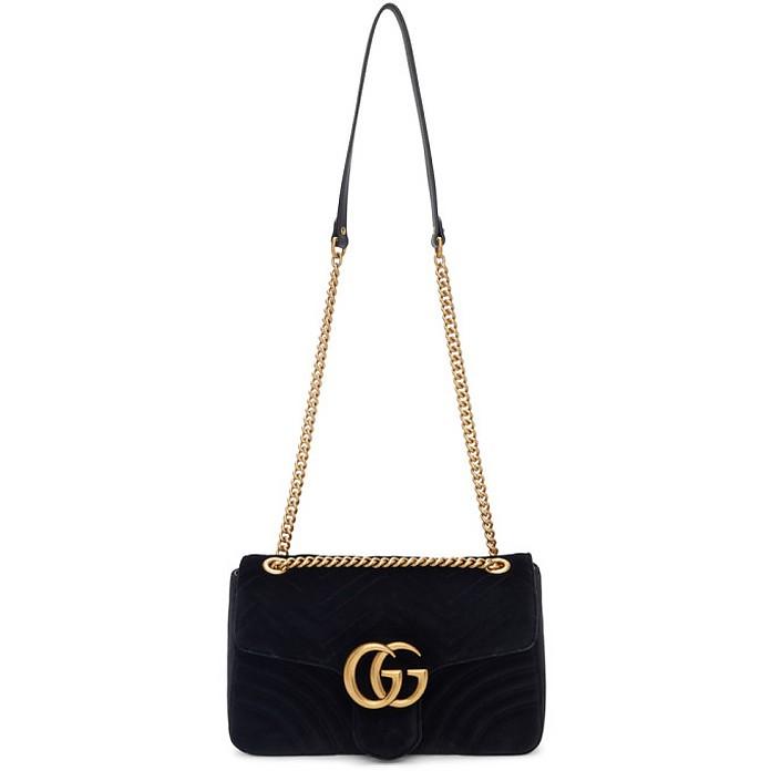 Black Velvet Medium GG Marmont 2.0 Bag - Gucci