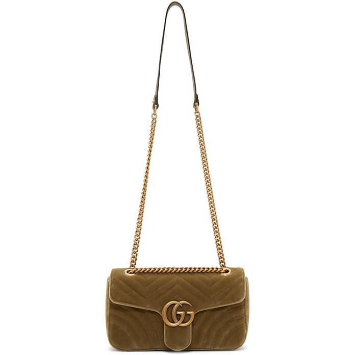 Tan Velvet Small GG Marmont 2.0 Bag - Gucci