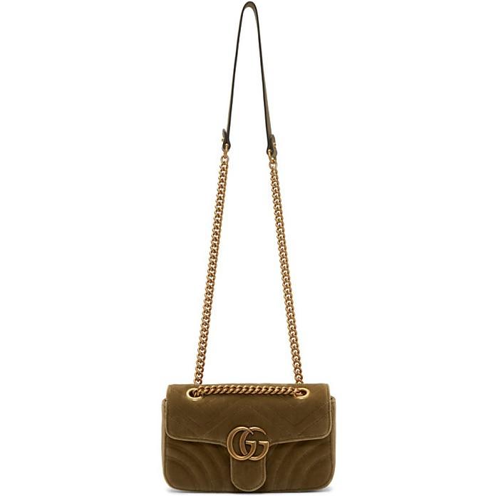 Tan Velvet Mini GG Marmont 2.0 Bag - Gucci