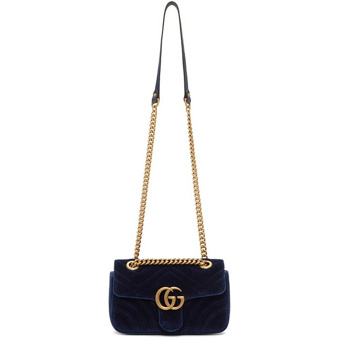 Blue Velvet Mini GG Marmont 2.0 Bag - Gucci