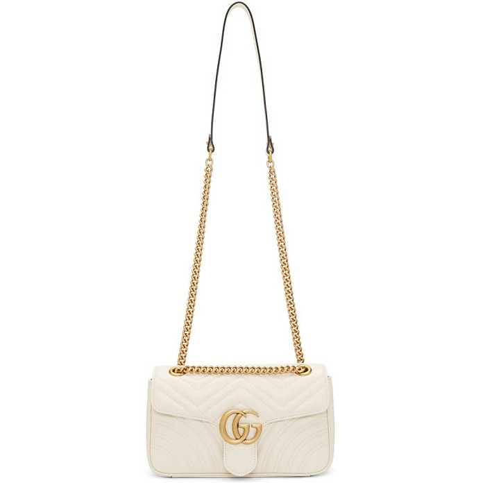 White Small Quilted GG Marmont Bag - Gucci