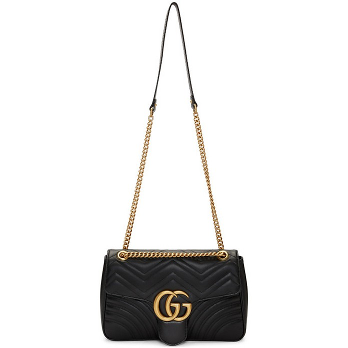 Black Medium GG Marmont 2.0 Shoulder Bag - Gucci