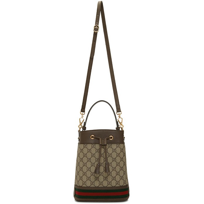 Beige GG Supreme Small Ophidia GG Bucket Bag - Gucci