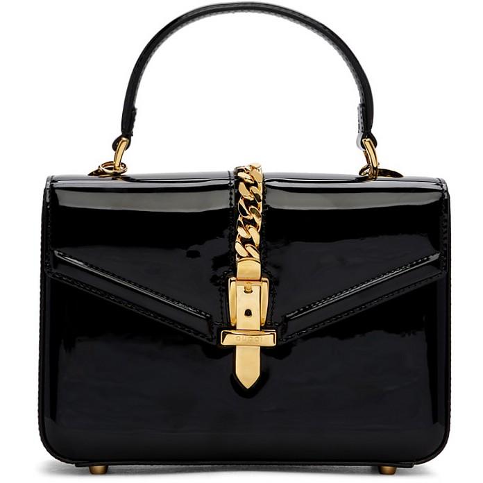 Black Mini Patent Sylvie Bag - Gucci