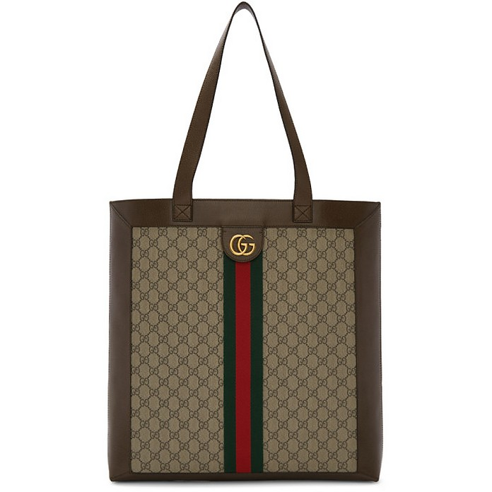 Brown and Beige GG Ophidia Tote - Gucci