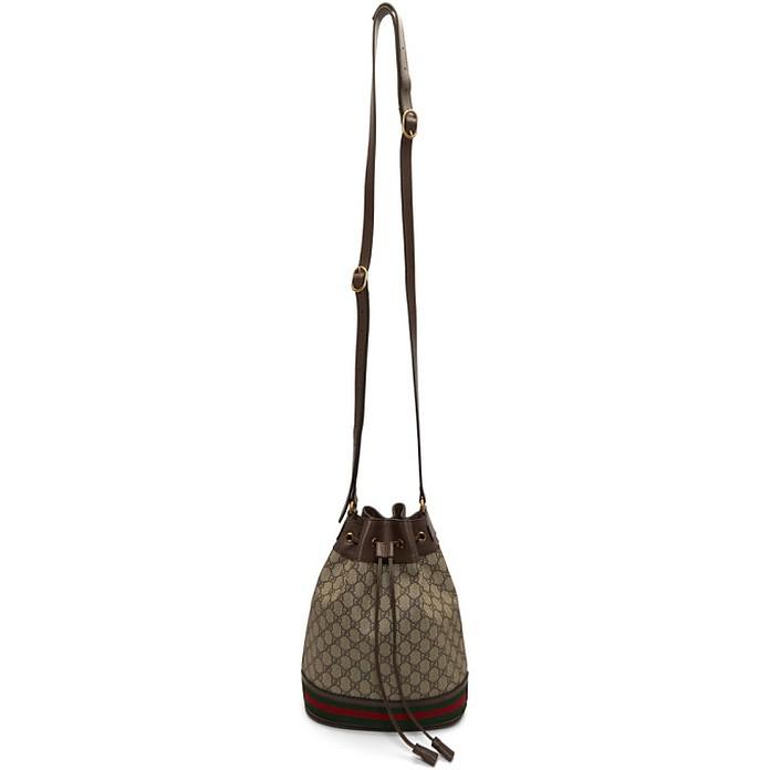 Brown GG Supreme Ophidia Bucket Bag - Gucci