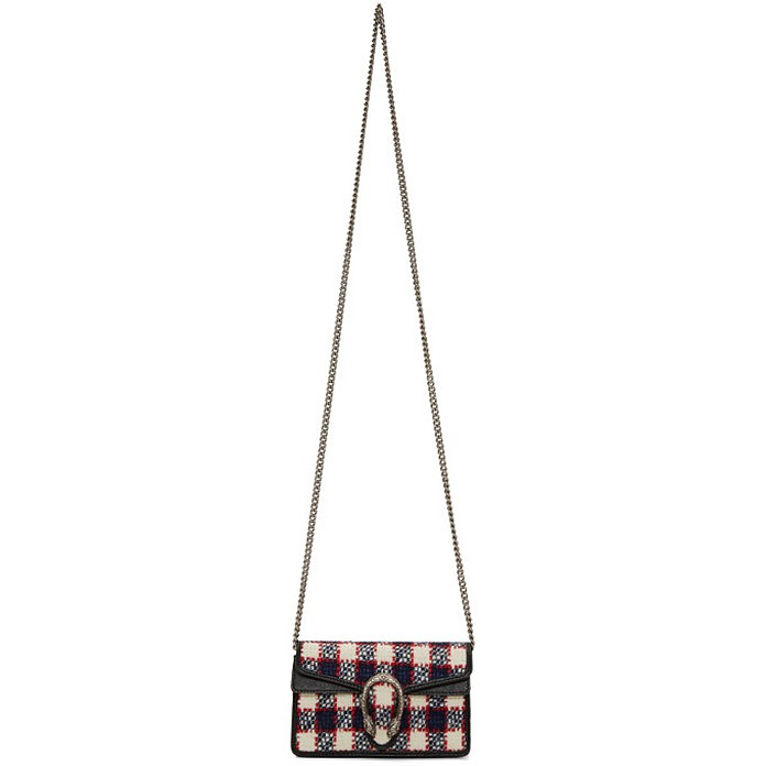 Navy Supermini Tweed Dionysus Chain Bag - Gucci